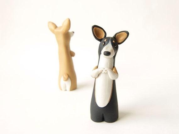 Pembroke Welsh Corgi Figurine - Tri-color Corgi by Bonjour Poupette