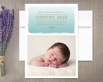 Ombre Watercolor Birth Announcement Boy