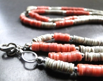 CRAZY SALE Necklace, Tribal Jewelry, Accessories, Sterling Silver, Heishi Shells, Coral Stones, Autumn Necklace, Holiday Necklace, Gift Box