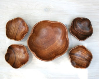 Five Piece Vintage Monkey Pod Wood Salad Bowl Set