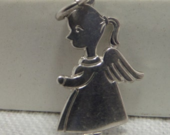 LITTLE GIRL ANGEL Sterling Silver Charm or Pendant