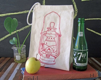Lunch Bag - Screen Printed Recycled Cotton Lunch Bag - Reusable and Washable - Eco Friendly Lunch Box - Handmade - Canvas Tote Bag - Lantern
