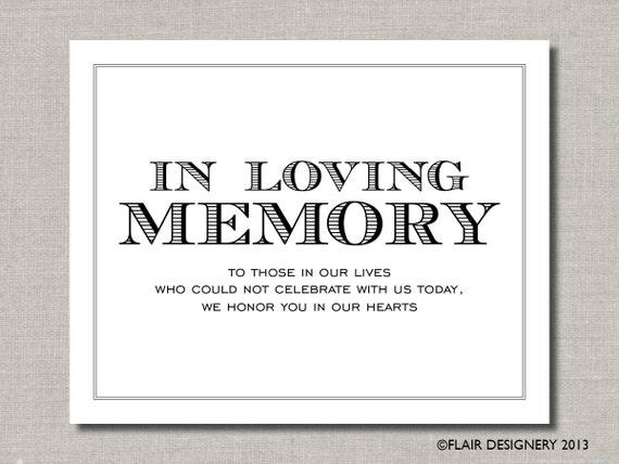 In loving memory printable wedding poster or by flairdesigneryllc for In loving memory free printable
