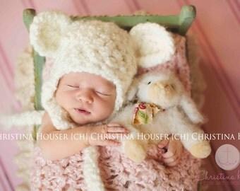 Cream Earflap Beanie Teddy Bear Hat Newborn Photography