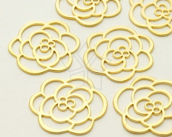 PD-793-MG / 2 Pcs - Rose Silhouette Pendant, Matte Gold Plated over Brass / 23mm