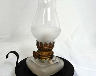 Clear Glass Hurricane Oil Lamp with black metal holder Home and Garden Lighting Lamps Table Lamps Hurricanes