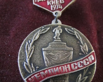 Vintage USSR CCCP Soviet Union Dinamo Kiev Soccer Collectible Badge Pin