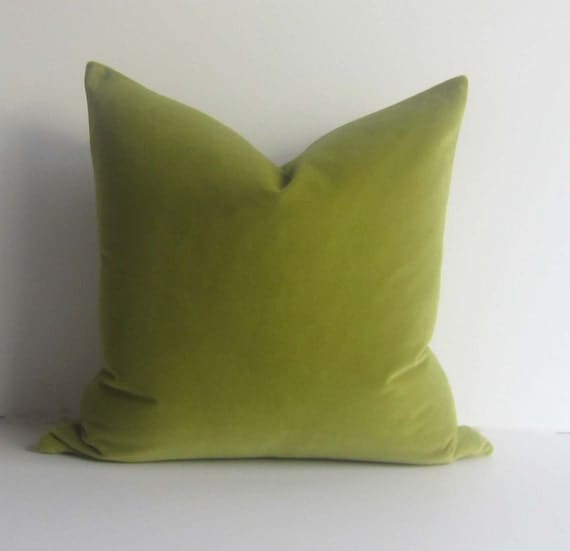 Apple Green Velvet Pillow Decorative Pillow Cover 20 Inch