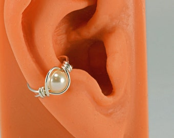 Sterling Silver Ear Cuff Wrap Swarovski Cream Pearl Ear Jacket