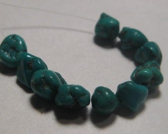 Turquoise Nugget Beads ......  10 pieces .....   small .........  a4498
