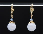 Blue Lace Agate earrings / Light Blue earrings / Periwinkle Blue earrings / Blue Chalcedony earrings in 14k Gold Fill for INSPIRED SOUL