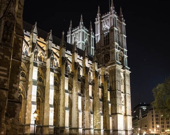 London Photography --Westminster Abbey at Night,  London Art, Night Photography, London Print, London Skyline