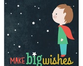 Personalized children's illustration, little girl or boy gazing at the stars, make big wishes
