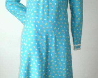 60s 70s Vintage aqua blue flirty sweet pink floral empire waist HIPPIE long maxi prom festival gown dress M-L