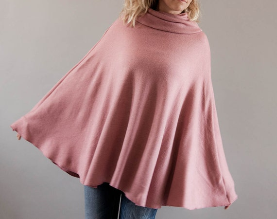 50% OFF Sale, Womens Poncho in Pink-Cape Poncho-Plus Size Poncho-Cowl Neck Pullover Poncho-Maternity Poncho-Womens Pink Cape by MoonHalo