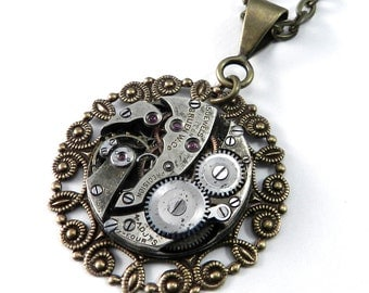 Steampunk Jewelry, Clockwork Necklace, Antique Mechanical Watch Movement in Brass, Steampunk Jewelry by compassrosedesign