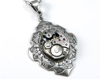 STEAMPUNK Necklace Jewelry Petite ANTIQUE Watch Movement on Silver VICTORIAN Pendant, Steampunk Jewelry by compassrosedesign