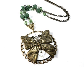 Steampunk BUTTERFLY Necklace - VICTORIAN Whimsical Butterfly Necklace on Vintage Pocket Watch Dial by CompassRoseDesign