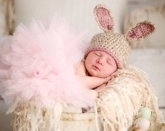 Crochet Baby Bunny Hat, Newborn Bunny Hat, Baby Boy - Girl Bunny Hat, Newborn Photo Prop