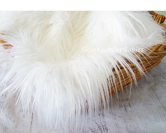 white mongolian faux fur fabric 18 x20 newborn photo prop faux fur prop fur blanket basket. Black Bedroom Furniture Sets. Home Design Ideas