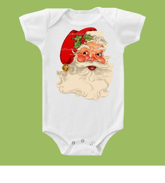 Santa shirt, Christmas Tee, Vintage Santa Claus, Baby One Piece Bodysuit, Girls Shirts, Boys Shirts, Holiday Shirt,by ChiTownBoutique.etsy