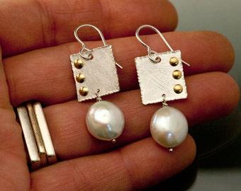Sterling Silver and Fresh Water Coin Pearl Earrings with Brass Rivets, Silver Pearl dangle Earrings, Modern Wedding Earrings