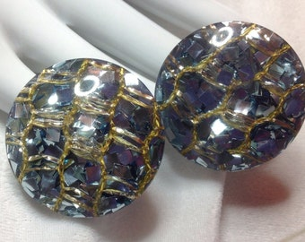 Vintage BIG Confetti Lucite Pale Blue Metallic Foil Gold Cord Sparkle Earrings New Old Stock