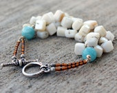 The square pearl bracelet / whimsy beaded earthy jewelry / blue faceted agate beads wire wrapped bracelet