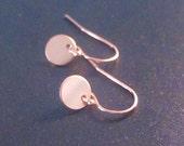 Tiny Rose Gold Earrings / minimal rose gold dot earrings, little circle, dainty earrings, bridesmaid earrings, gift, minimal dangle earrings