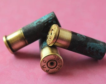 3 - 38 Special Brass BULLET Shell Casing -Top DRILLED with Half Green Patina.. 9mm Verdrigis Gun Shells 3-38SP-HP-D
