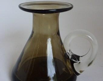Vintage Smoke Glass Vase Hand Blown Black Smoky Art Glass Small Candleholder Vase Clear Glass Applied Handle Flat Top Beaker MCM Style