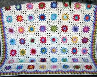 GRANNY SQUARES Blanket Petite Peonies Ivory Crochet Afghan