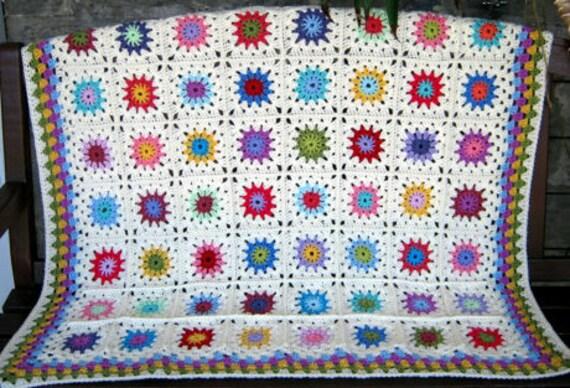 GRANNY SQUARES Blanket Petite Peonies Crochet Afghan