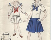 1950s Vintage GIRLS Two-Piece SAILOR Dress with PLEATED Skirt Sewing Pattern - Size 6, Factory Folded