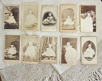 10 Antique Carte de Visit Photos of Children