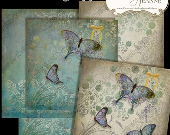 Modern Butterfly Digital Paper Pack 5, 12 inch AJR-14-05C watercolor scrapbooking papers vintage script postcard stamps ephemera