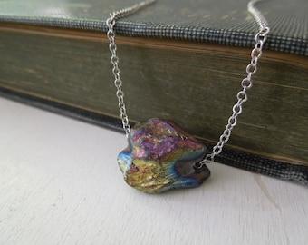 Rainbow Mystic Titanium Nugget Necklace - Natural Quartz Stone Pendant Necklace Silver Chain stone no.2