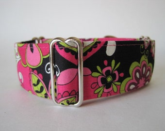 1 Inch Martingale Collar, Martingale Collar Greyhound, Hot Pink Dog Collar, Pink Tag Collar, Wide Dog Collar, Funky, Flower Power
