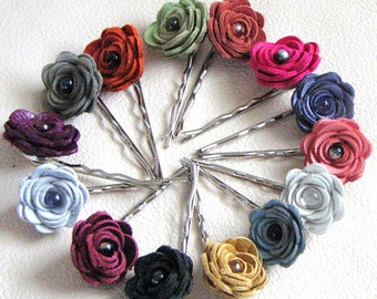 3 leather rose bobby pins, summer hair flower accessory red yellow white cream green blue black brown hot pink