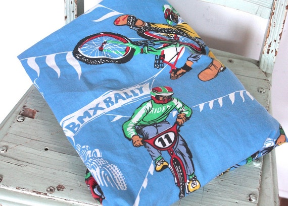 Vintage Bike Fabric 1980s Bmx Bike Rally Fitted Bed Sheet