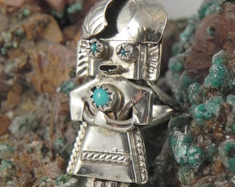 Kachina Turquoise  Sterling Silver Ring