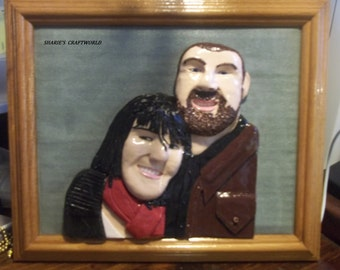Baked Clay Portrait, Reproduction, Remake, Photo, Photograph, Picture, Digital, Custom, Wall Art, Custom One Of A Kind Polymer, Love, Gift