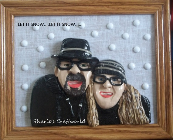 Let it Snow ...3D Clay Portrait, Lifelike, Winter, Play in Snow, Polymer Clay, Baked Clay, Cut Glass, Christmas Gift, Gift for Him, Gift