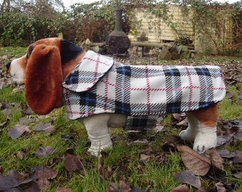 Dog Jacket- Blue and White Fleece Plaid Coat- Size  Medium- 16 Inch Back Length - Or Custom Size