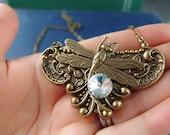 Full Moon Night---Victorian style art nouveau dragonfly aged brass statement necklace