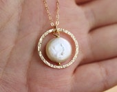 Gold Karma necklace,Coin pearl,bridesmaid gifts,mothers gift,Hammered,anniversary,best friends