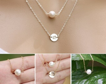 Double layered Initial pearl necklace,bridesmaid gifts,bridesmaid necklace,wedding jewelry,everday Jewelry
