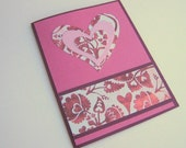 Handmade Valentine Card Love Card Note Card Pink and Burgundy Hearts and Flowers Blank Inside