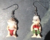 Mr. and Mrs. Naked Santa Earrings by Kim Lugar