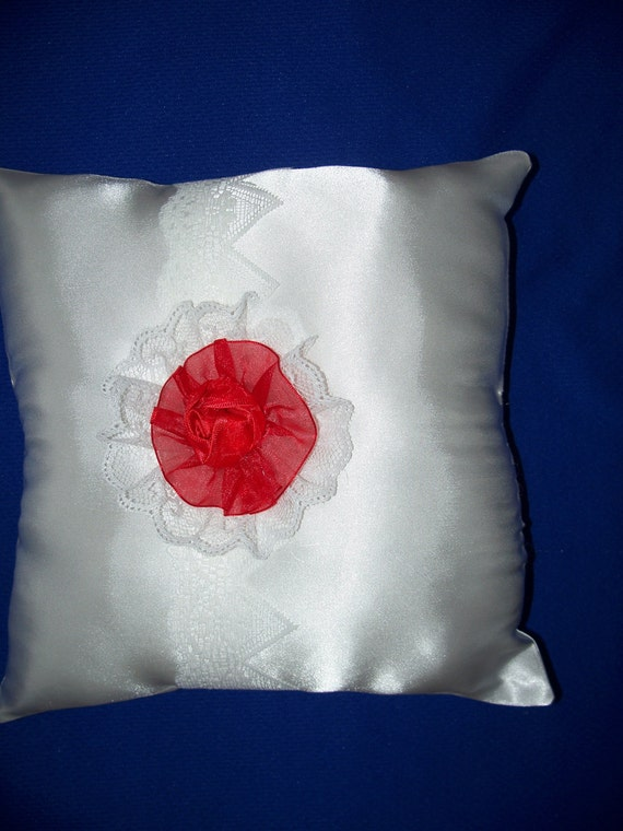 white wedding satin ring bearer pillow with white satin